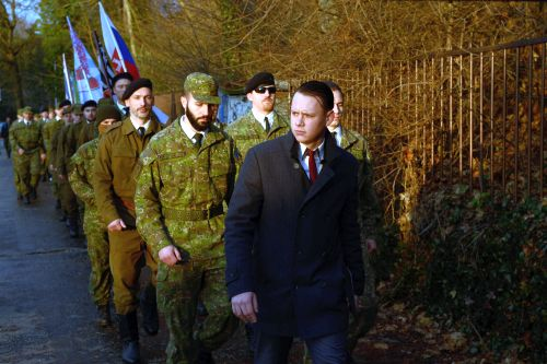 WHEN THE WAR COMES ° Peter Švrček marching with his paramilitary group